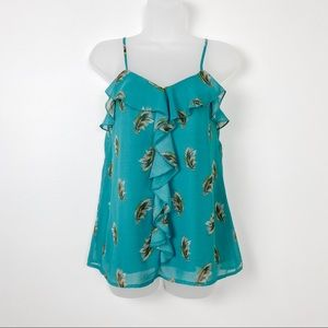Feather Print Teal Ruffle Cami V Neck Tank Top